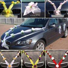 ORGANZA M + S Auto Schmuck Braut Paar Rose Deko Dekoration hochzeit autoschmuck