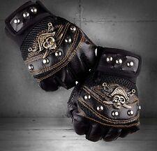 Men's Punk Rocker Skull Studded Fingerless Driving Genuine Leather Gloves black
