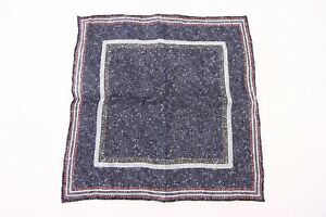 NWT Brunello Cucinelli Linen-Cotton Multi-Color Embroidered Print Pocket Sq A176