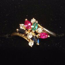 beautiful 18ct gold ruby, emerald, sapphire & diamond ring size M 1/2
