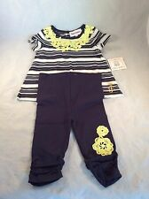 Juicy Couture $78.00 Retail 3-6 Month 2 Piece Black Yellow Outfit Girls Box M