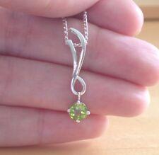"""925 Peridot Pendant & 18"""" Silver Chain/ Peridot Necklace/Peridot Jewellery/Gems"""