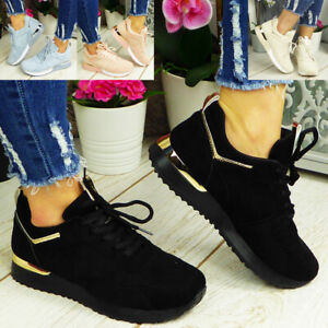 Ladies Womens Trainers Sneakers Lace Up Jogging Fashion Gym Comfy Pumps Shoes