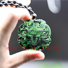 Carved Black Green Jade Dragon Ax Pendant Obsidian Necklace  Amulet