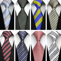 Blue Grey Black Red White Yellow Wedding Stripe Necktie Silk Business Men's Tie
