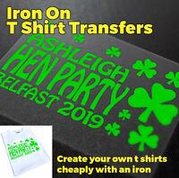 Hen Party Iron On T Shirt Transfer Shamrock  | C2
