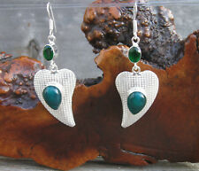 "Green Onyx Gemstone Sterling Silver Abstract Hearts Dangle Earrings 2.73"""