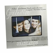 "Graduation Brushed Silver ""Follow Your Dreams"" Photo Frame Gift"