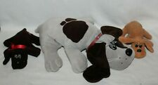 "Tonka Pound Puppies Brown Black Gray Dogs Pups Vintage Plush 15"" & 8"" Lot of 3"