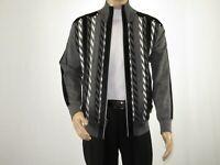 Men Silversilk Sweater Jacket Full Hidden Zipper Front Mock Neck 5250 Navy Blue
