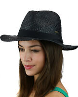 Genuine CC Brand Women's Raffia Straw Weaved Panama Sun Hat with Ribbon Trim