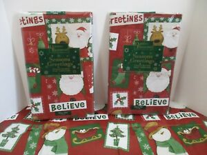 Christmas Winter Snowman Santa Vinyl & Flannel Backed Kitchen Party Tablecloth