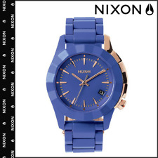 New Nixon Monarch A288-1675 Womens 38mm Cobalt Blue Case with Rose Gold Accents