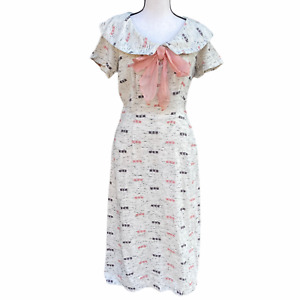Vtg 80s Birch Pattern Dress Country Prairie Cream Midi w/ Pockets size M