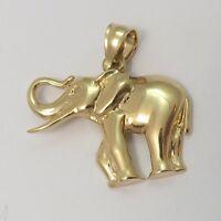 14K Gold  Elephant Lucky Trunk Up Charm Pendant 2.4gr