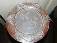 """ANTIQUE EAPG CLASSIC PATTERN GLASS WARRIOR JACOBUS DINNER PLATE 11 1/2"""" D"""