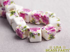20pcs 10mm Purple Peony Cube Square Ceramic Porcelain Big Hole Loose Beads