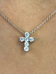 Platinum Sterling Silver Created White Sapphire Shared Prong Mini Cross Necklace