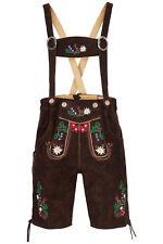 Herren Trachten-Lederhose kurz mit aufwendiger Stick Gr.54 Bundweite 96-98cm