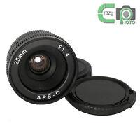 Mirrorless 25mm F1.4 C-Mount Lens for APS-C Camera M4/3 FX EOSM N1 P/Q NEX α7R