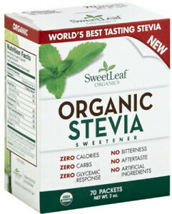 Organic Stevia Sweetener by SweetLeaf, 70 packets