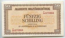 GB050 - Paper Money Austria 50 Schilling 1944 Pick#109 XF-UNC Allied Occupation