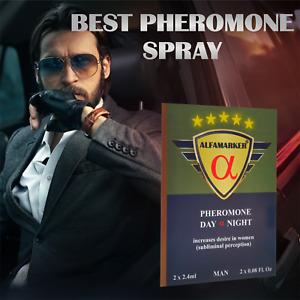 AlfaMarker Day & Night Pheromone Spray for Men 2x2.4ml Mega Strong Attract Women