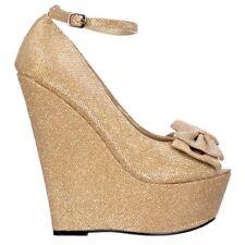 Ladies Wedge Platform Glitter Shoes Ankle Strap Peep Toe Purple, Dark Nude