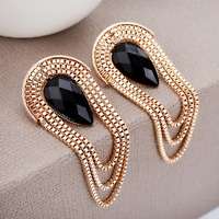 Elegant Gold Metal Chain Tassel Drop Ear Stud Earrings Women Luxury Jewelry Gift