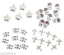 Nail Art Set 3D Decorations Silver Skulls Rhinestones Crowns Crystals Crosses