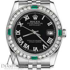 Ladies Rolex 26mm Datejust Black Color Emerald Roman Numeral Dial Watch