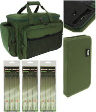 NGT Carp Fishing Green Tackle Bag Insulated + Green Rig Wallet + 18 Hair Rigs
