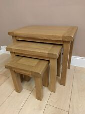 Kingsford Solid Oak Nest of 3 Tables / Side / End / Lamp / Sofa 65cm 42cm 54cm