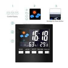 Digital Alarm Clock Kids LED Screen Weather Station Backlight Monitor Snooze Q