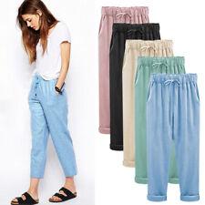 Womens Elastic High Waist Baggy Loose Casual Harem Nine Pants Trousers Plus Size