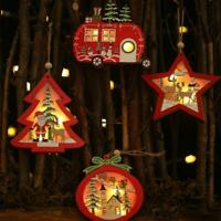 Retro Xmas Tree Ornaments Wooden Glowing House Christmas Hanging Decor DIY Gift