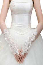 Off White Organza Fingerless Elbow Length Bridal Gloves