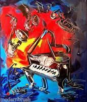 Blue Jazz  ORIGINAL***Abstract Art Modern  **PAINTING ON CANVAS SDF56uB