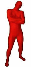 Adult Costume Fancy Dress Up Skinny Body Suit Black, Blue, Red, Green, Purple