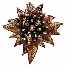 Pince à cheveux bibi broche fleur Marron Perles noires et strass cristal blanc
