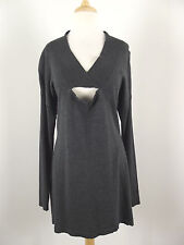 NEW Sexy Leo & Nicole Womens Sweater V-neck Knit Top Sz L Large NWOT Gray