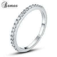Schmaler Damen Ring echt Sterling Silber 925 mit 3mm Zirkonia