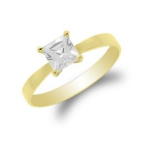 JamesJenny Women 10K/14K Gold 084 ct Princess CZ Solid Solitaire Ring 4-10