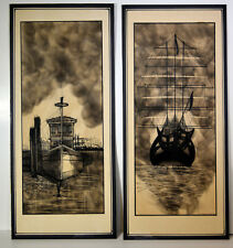 """21"""" Set 2 Ink Drawings on Paper Stunning Tug Boats Sketches Signed Ross Wilson"""