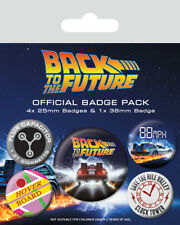 Back To The Future (Delorean) 5 Badge Pack * OFFICIALLY LICENSED PRODUCT **