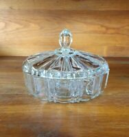 Vintage Clear Glass Candy Nut Trinket Dish With Lid Cut