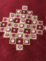 Handmade Crochet 3D Flower Floral Afghan Lap Blanket Couch Throw Rose Red