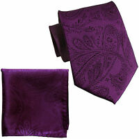 New Men's Polyester Woven Neck Tie necktie & hankie set Purple paisley wedding