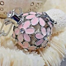 Flower Rhinestone Crystal Aromatherapy diffuser Necklace Essential Oil Lava Pink