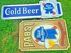 Vintage Pabst Blue Ribbon Beer Bar Advertising Man Cave Two Signs